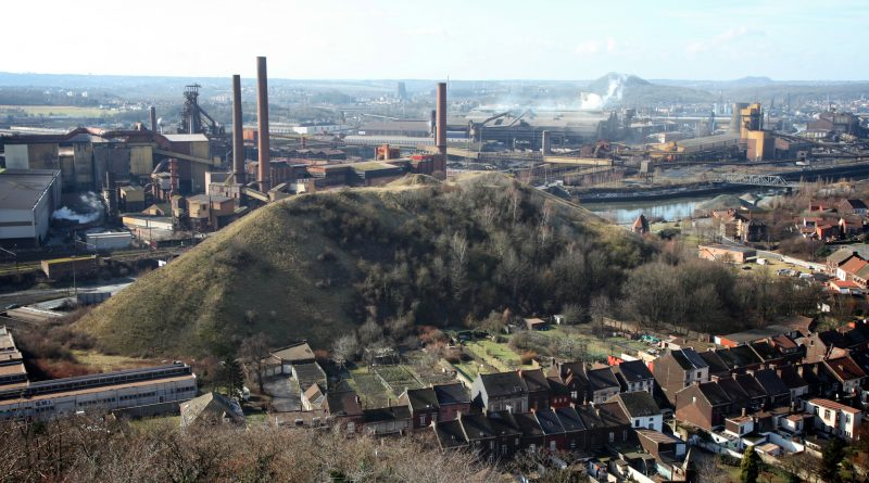 Views from the terril ( old mount of coal ) of Dampremy over the now closed Arcelor Mittal industry in Charleroi 16/04/2012